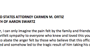 U.S. Attorney Carmen Ortiz Releases Statement Regarding Aaron Swartz's Death